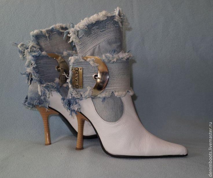 """Купить Ботинки """"Поцелуй"""" джинс+кожа, белые - белый, голубой, джинсовый стиль, обувь ручной работы"""