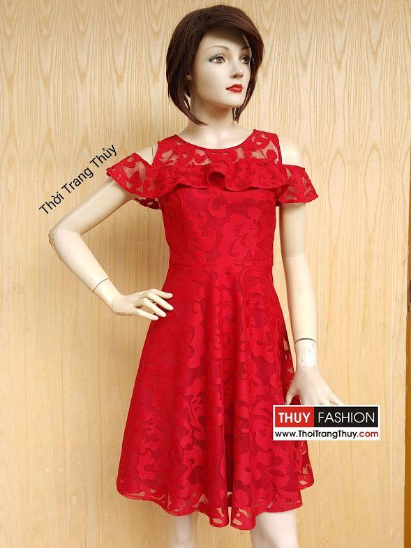 Váy xòe trễ vai phối bèo vải ren tông màu đỏ V413 Thời Trang Thủy
