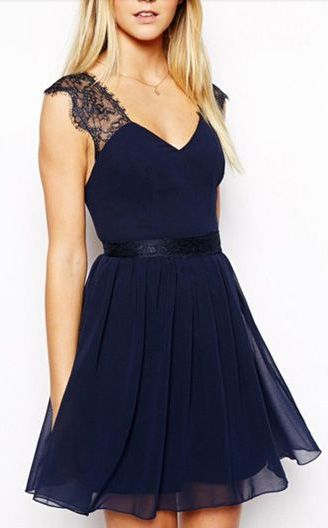 Navy Lace Skater Dress would be pretty for rehearsal for Dana