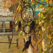 Ручной черный ловца снов круговой чистая с перьями стене висит украшение декора подарок(China (Mainland))