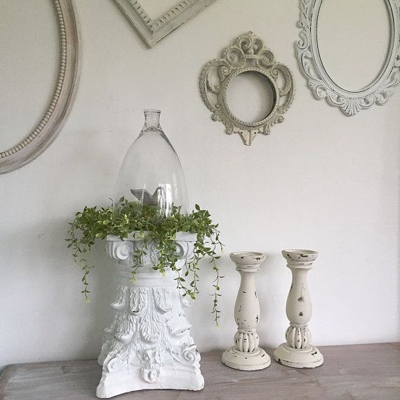 Ornate Pedestal Architectural Table Centerpiece FRENCH PROVINCIAL Shabby Chic - Hallstrom Home - 1