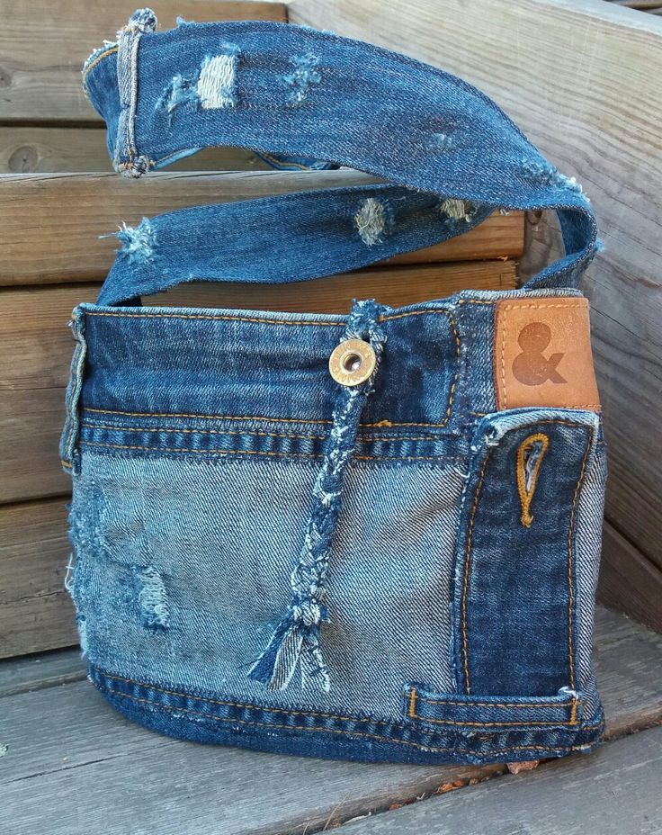 Handbag recycled denim, DIY, jeans; re-used by Anna