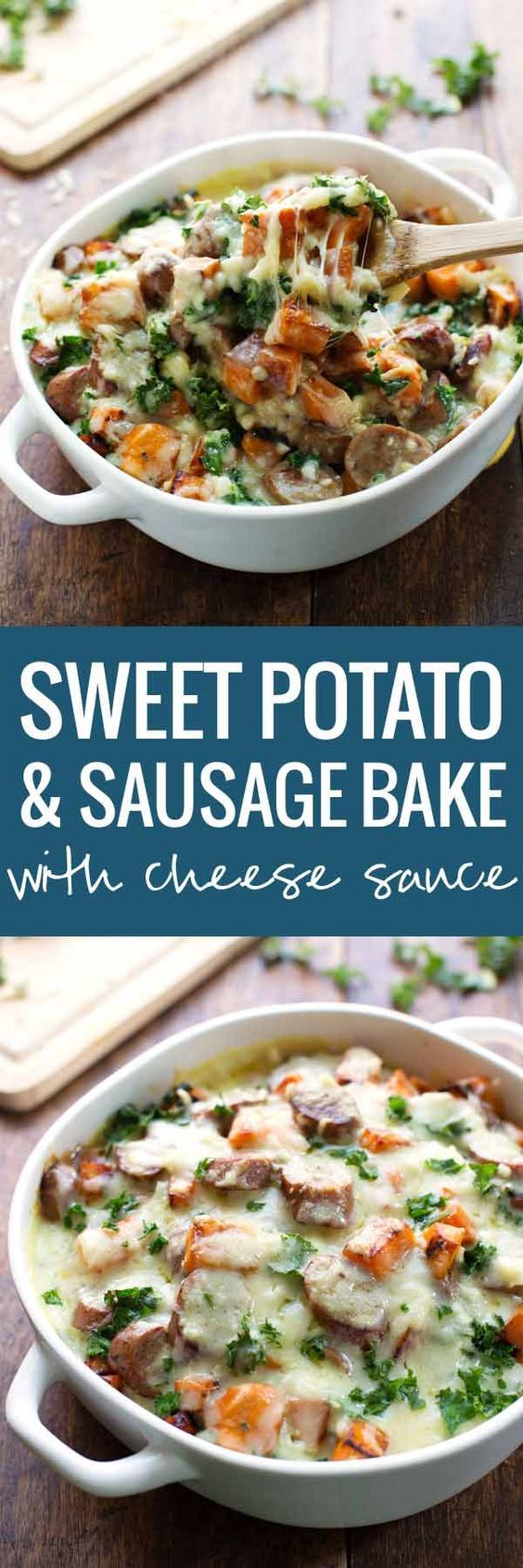 Sweet Potato, Kale, and Sausage Bake with White Cheese Sauce - comfort food featuring a handful of pantry staples and a few super healthy ingredients.   pinchofyum.com- Make this with Johnsonville Italian Sausage.