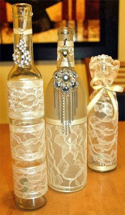 Lace covered jars and bottles.