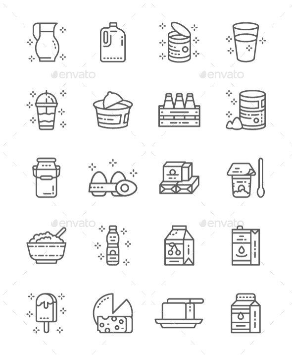 Set Of Dairy Products Line Icons  Pack Of 64x64 Pixel Icons