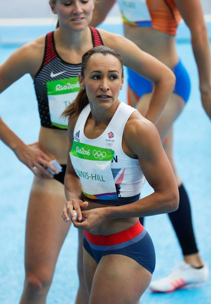 Jessica Ennis-Hill of Great Britain reacts after competing in the Women's…