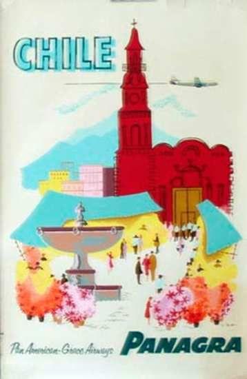 DP Vintage Posters - Panagra Airlines Chile Original Vintage Travel Poster