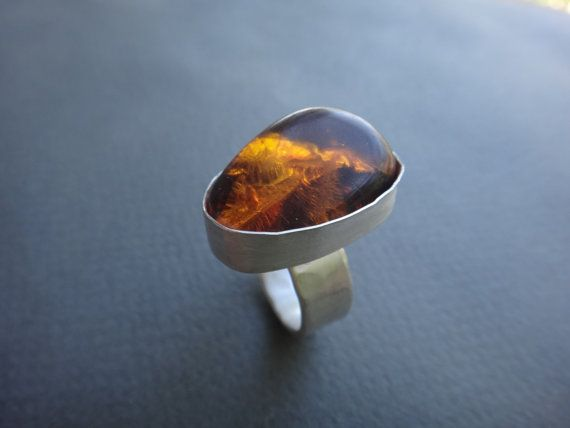 Amber Sterling Silver Ring by EyvindsAlchemy on Etsy