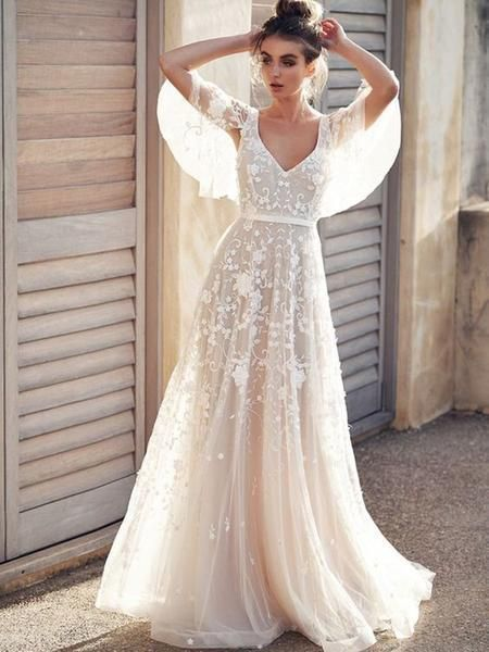 Half Sleeves Pattern Court A-Line Beach Wedding Dress
