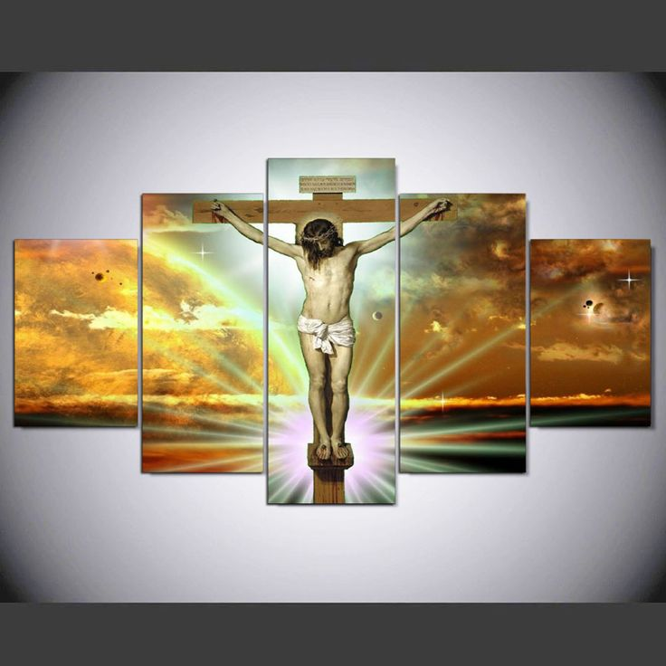 5 panel hd modern jesus on the cross  Art print canvas art wall framed paintings for living room wall picture kn-601 #Affiliate