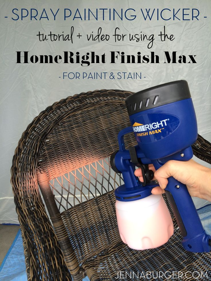 DIY tutorial for painting wicker using the HomeRight finish max hand sprayer. I painted 2 wicker chairs in less than 10 minutes. That would be impossible with a paint brush. A hand sprayer is a MUST TOOL for paint projects. Check out a step-by-step tutorial + video of how fast it covers > www.jennaburger.com