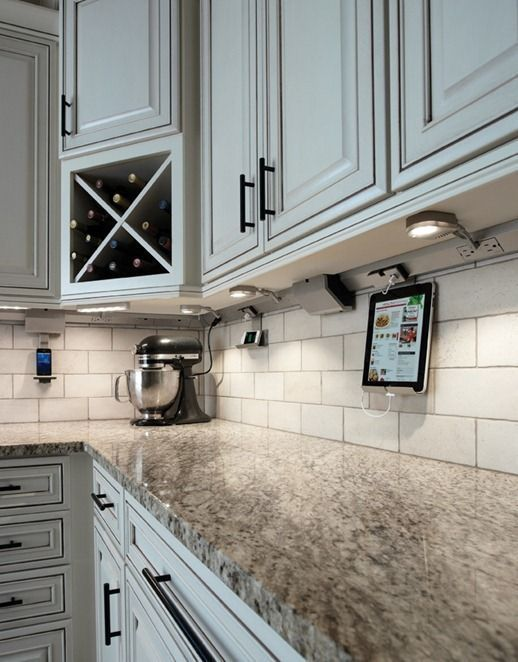 Outlets Below Upper Kitchen Cabinets  Plug In Lights, Drop Down Tablet  Cradle (Centsational Girl) AWESOME IDEA