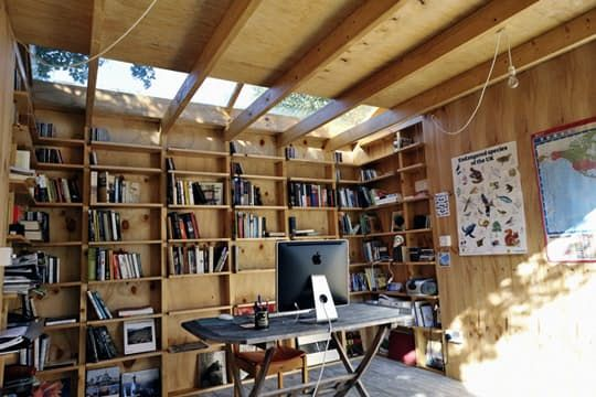 Speaking of small spaces, if you've got the urge to be outdoors and have a near-term need for an office, perhaps this low-budget garden shed might inspire some epic DIY projects this coming Summer season.