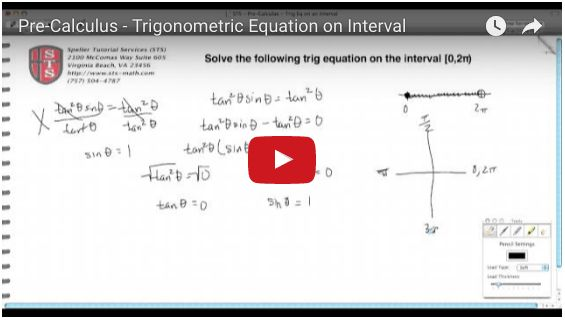 Click here to learn how to solve a trigonometric equation over an interval.
