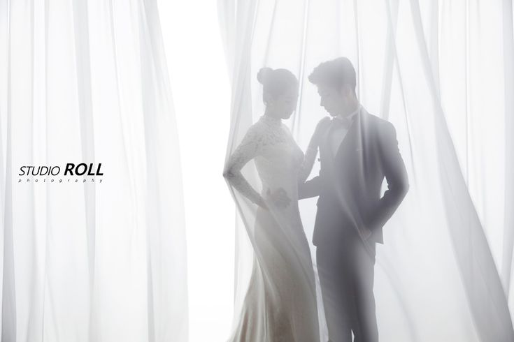 Mysterious Yet Alluring Korean Pre-wedding Photoshoot Idea - Studio Roll, Minimalistic, Curtain, Indoor