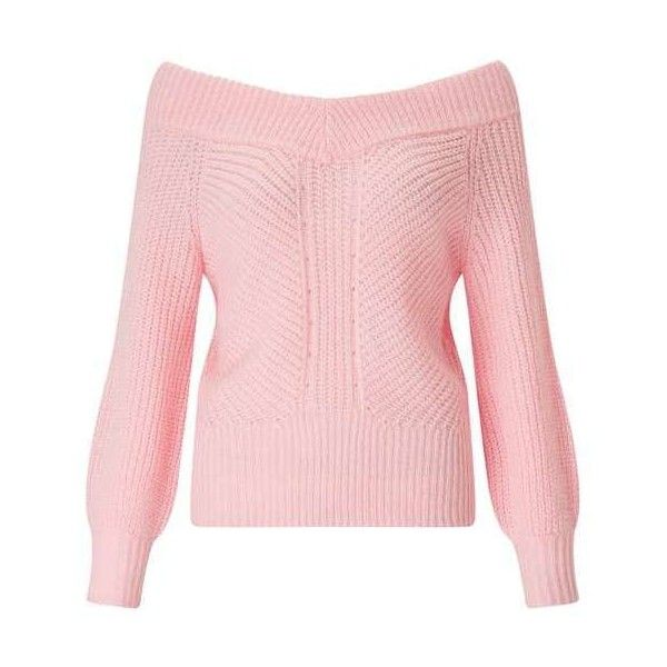 Pink Bardot Volume Sleeve Knitted Jumper ($48) ❤ liked on Polyvore featuring tops, sweaters, double layer top, pink cardigan, layered tops, pink top and knitwear cardigans