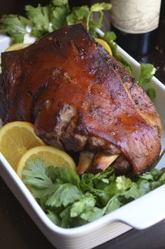 The best Puerto Rican-style Pernil Recipe. Roast pork shoulder with super crispy skin.