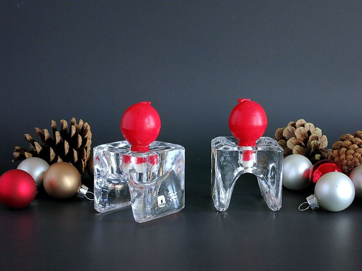 Juhava Oy Finland Candleholders Napkin Ring, Ri-Jalka Ice Cube Candle Holders with 4 Red Ball Candles, Crystal Scandinavian Christmas Decor by EightMileVintage on Etsy
