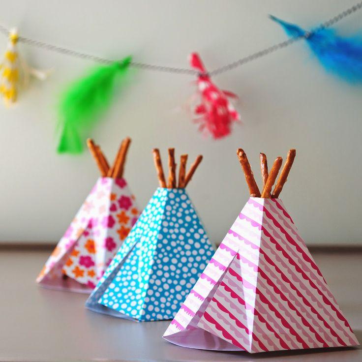 tuutsjes: feest in de tent en een DIY, traktatie #verjaardag. Birthday treat tipi teepee