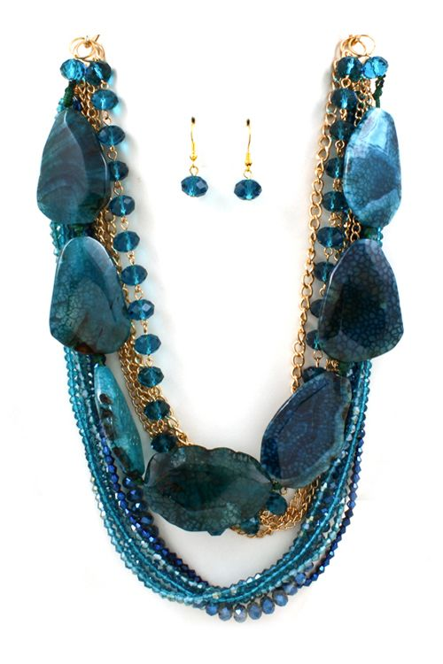 Sapphire Agate Statement Necklace