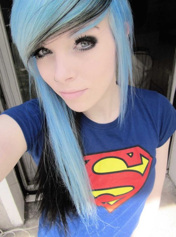 Emo Green Hair Yellow Blue Superman T Shirt Pink