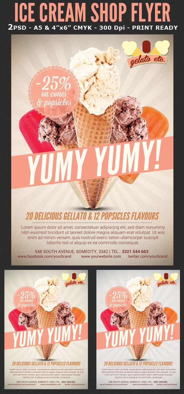 Ice Cream Shop Offer Flyer Template on Behance