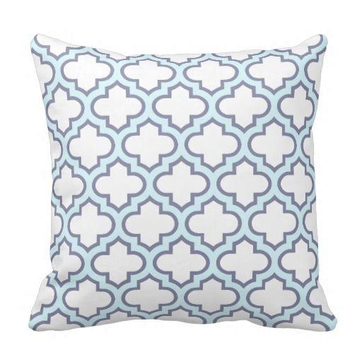 Elegant Light Blue Moroccan Quatrefoil Pattern Pillows