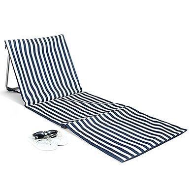 Relax and catch some rays either on the beach or by the lake with this lightweight and portable folding beach mat. This handy sun lounger will keep you protected from hot sand or wet grass while you are stretched out enjoying a sporting event, camping, picnic or relaxing poolside. Features include a waterproof pvc fabric in a classic blue and white stripe over a sturdy metal frame that adjusts for a comfortable backrest. To keep your essentials dry and handy, a large pocket is an additional…