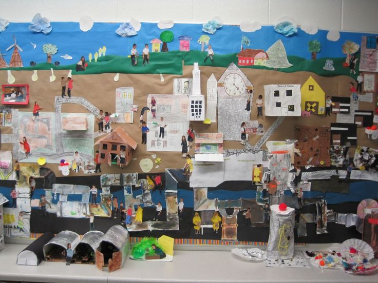 City of Ember bulletin board city...3D and pics of students.
