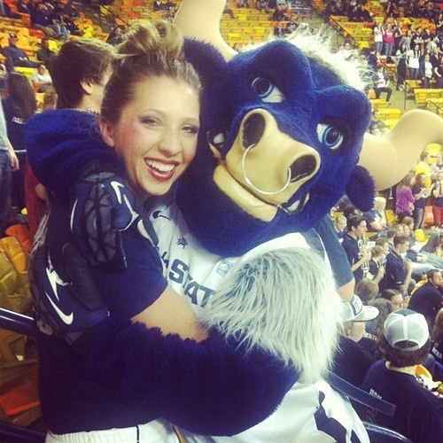 Had the amazing opportunity to perform at the USU game tonight with my U'ettes.  #USU #utahstate #bull