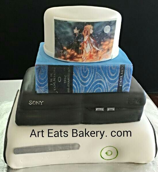4 tier custom unique modern fondant #wedding #cake design with cske sculpture Sony #Playstation, #xbox, #Lord of the #Rings book and round tier topper #cake #wedding #Greenville #taylors #Bakery #SC