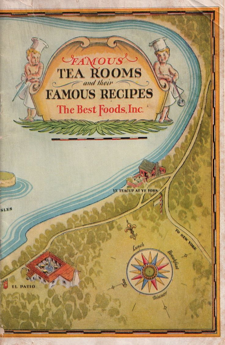 "1928 booklet ""Famous Tea Rooms and Their Famous Recipes,"" which was published by The Best Foods, Inc. Some of the tea rooms featured are the Mary Helen in Hollywood, Calif., the Brick Oven Tavern in Boston, Mass., the Lafayette Grill in Jacksonville, Fla. and the Patio Royal in New Orleans, La."