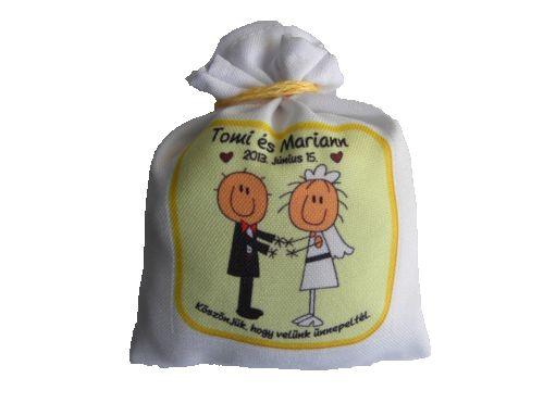 Fényképes levendula illatbatyu, esküvői köszönetajándék, vendég ajándék, köszönő ajándék a násznépnek