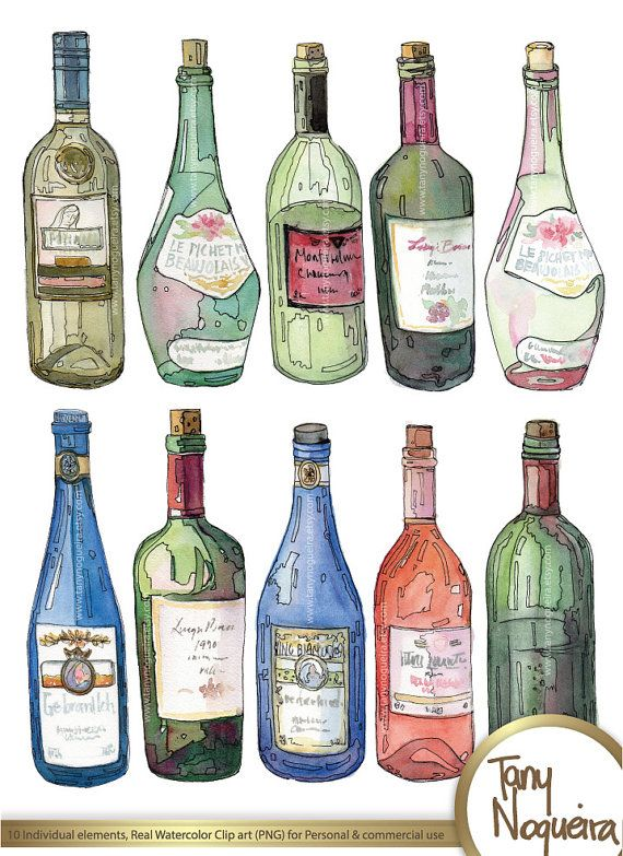 Wine Bottles Glass Bottles Colored Clip Art Images Watercolor Hand Painted Png Transparent Backgro Wine Bottle Drawing Bottle Drawing Bottle Painting