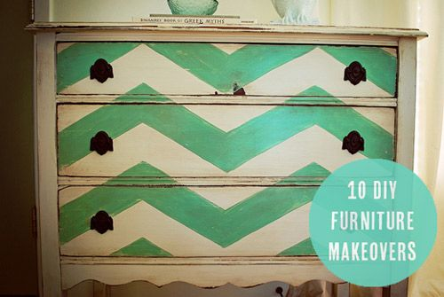10 DIY Furniture Makeovers. Ways to make upcycled furniture look chic!! I did something like this to a chest I used as vanity in half bath.
