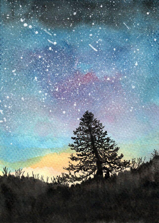 Original Landscape Watercolour Painting Starry Sky 5 X7 Art By Patricia Watercolor Night Sky Sky Art Watercolor Sky