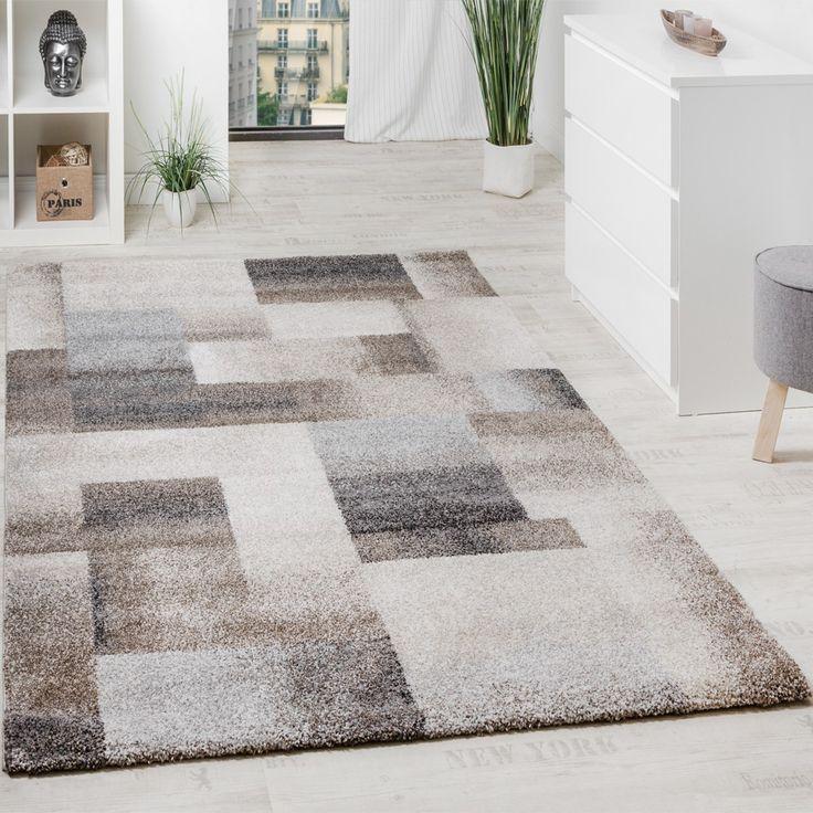 Woven Carpet Modern High Quality Mottled Chequered In Beige Cream Grey  Modern Rugs