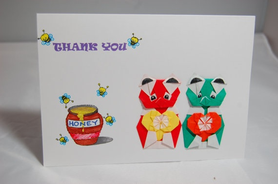 Thank You Card  Origami Bears and Hearts  Red & by SallysArtistry, $4.99