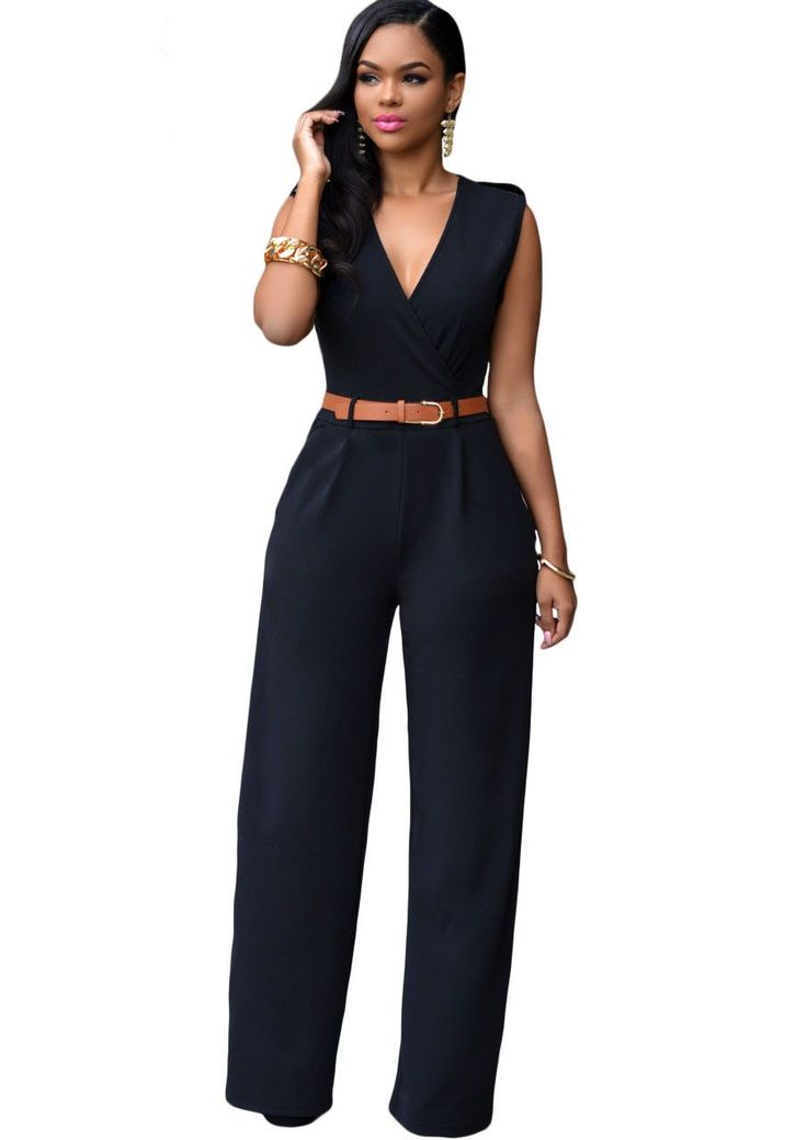 Zkess Jumpsuit Long Pants Women Rompers Sleeveless 2XL V-neck 2017 Belt Solid Sexy Night Club Elegant Slim Jumpsuits Overalls