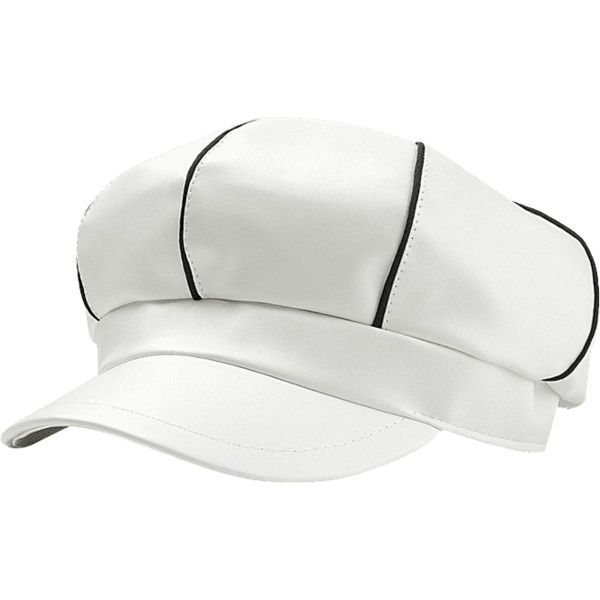 White Vintage Stripe Pattern Embellished Faux Leather Beret 32 Myr Liked On Polyvore Featuring Accessories Hats Leather Beret White Vintage Leather Hats
