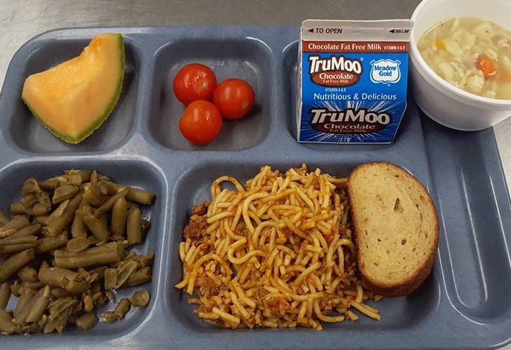 "I <3 to see a taste of Montana while I am traveling. This may look like a ""regular"" #SchoolLunch tray ... but it a really a vegetable delivery system: Homemade chicken soup with #veggies, #cherrytomatoes, #greenbeans AND MUSHROOMS. Using frozen diced U.S. Department of Agriculture mushrooms in the homemade spaghetti sauce meant that ""we had kids and adults alike coming back in the kitchen telling us how good it was today!"""