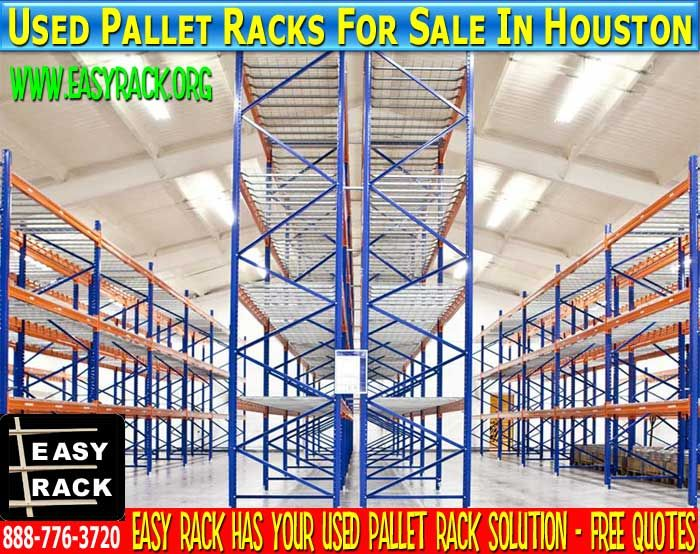 Used Pallet Racks For Sale In Houston, Texas: Call Us For A FREE Used Pallet Rack Quote Toll FREE 888-776-3720 Easy Rack offers acres of use pallet racks that are teaardrop style in stock and ready to ship in the continental United States. Teardrop designed used pallet racks are the most widespread of the many varied types of pallet racks. Some of the benefits of buying used pallet racks include easy installation requiring no tools, flexibility to fit specific warehouse space footprint.