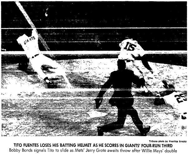 """Aug. 13, 1971: Giants 7, Mets 3. I threw out the suggestion casually: """"Hey, we could go to the Giants game tonight."""" To my surprise my parents bought it. My visiting aunt and uncle bought it. Soon, a whole station wagon full of us were headed over the bridge. Mays singled, doubled and tripled. Gallagher had an inside-the-park homer. Perry went the distance. The Giants maintained their 4-game lead over the Dodgers. Sweet memory, with some bitter -- it was the last time I saw Mays play in…"""