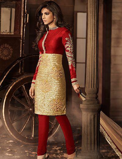 Priyanka Chopra designer raw silk unstitch red gold wedding wear Punjabi salwar suit Product Code: G3-WSS4661 Price: ₹ 5,095.00