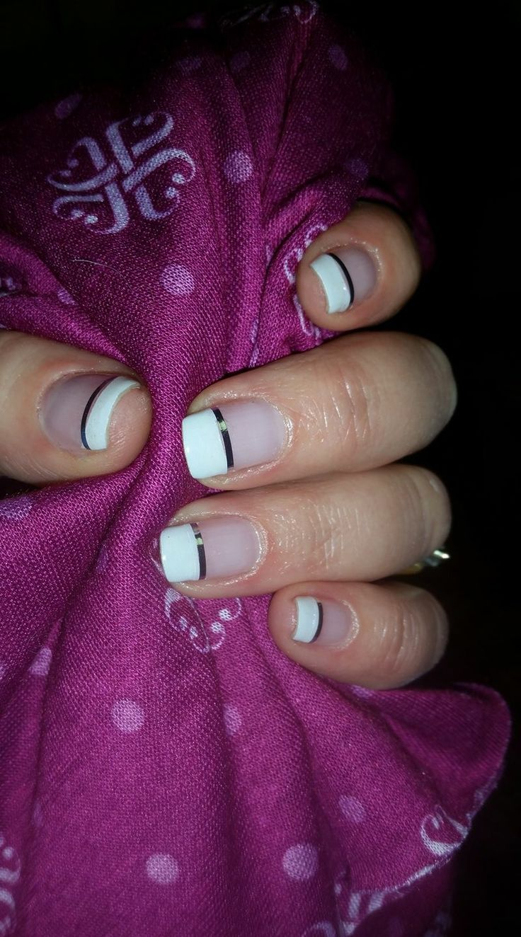 Jamberry. French tip. Silver stripe.