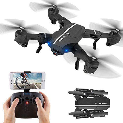buy now   									£62.99 									  									WIFI FPV RC Drone Quadcopter Foldable Drones with 720P HD Camera Live Video APP Control Drone 2.4GHz 4CH 6-Axis Gyro Remote Control Camera Drone with Altitude Hold,  ...Read More