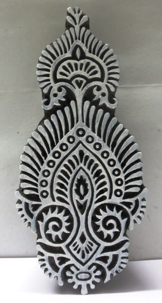 INDIAN WOODEN HAND CARVED TEXTILE PRINTING ON FABRIC BLOCK STAMP FINE UNIQUE