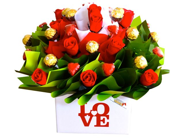 Love, Red Roses and Chocolate Bouquet