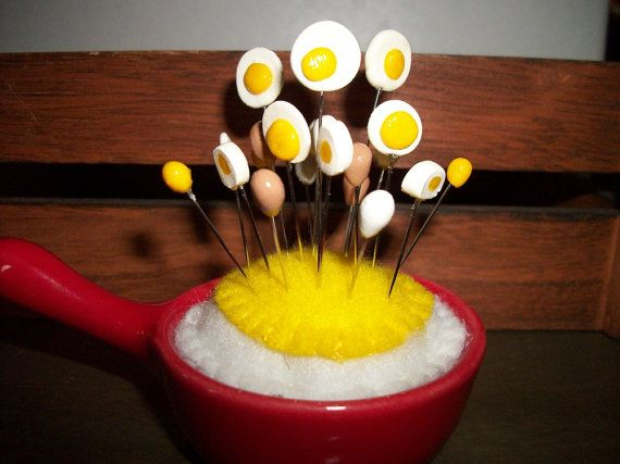 Pin Cushion Eggs in the Pan by sharronmay on Etsy