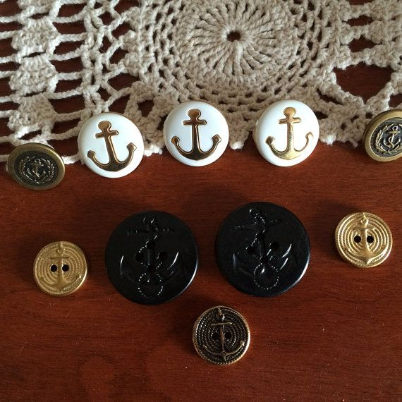 Vintage Buttons Navy Anchors Set of 10 Buttons White and